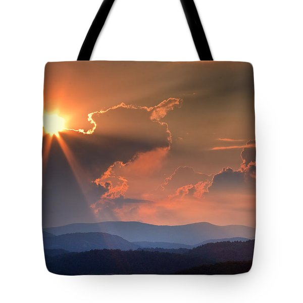 God Rays Over N C  Mountains Tote Bag