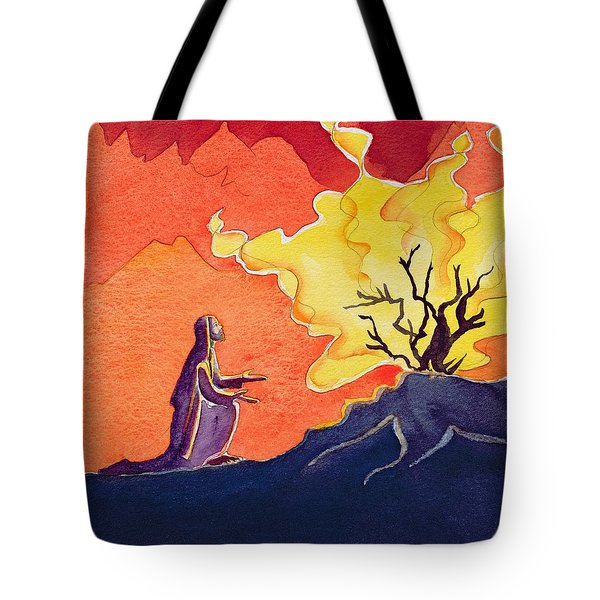 God Speaks To Moses From The Burning Bush Tote Bag by Elizabeth Wang