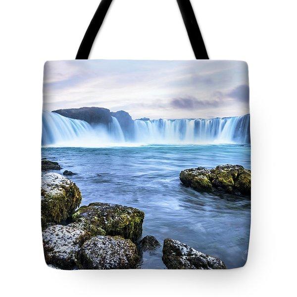 Godafoss Waterfall In Iceland Tote Bag by Joe Belanger