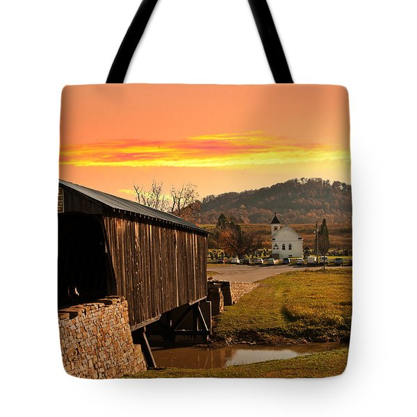 Goddard White Bridge And Church  Tote Bag