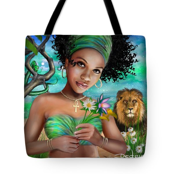 Tote Bag featuring the digital art Goddess Bastet by Dedric Artlove W