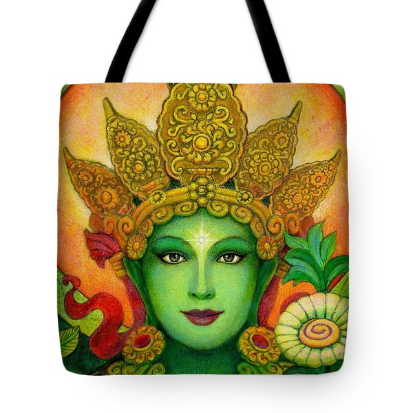 Goddess Green Tara's Face Tote Bag