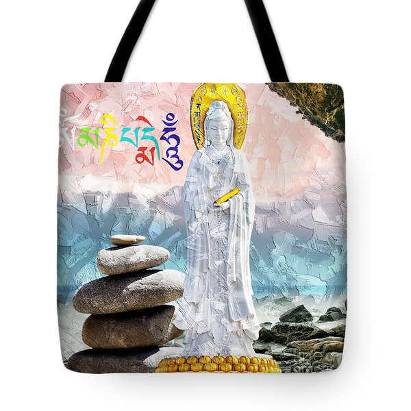 Tote Bag featuring the mixed media Goddess Of Mercy by Lita Kelley