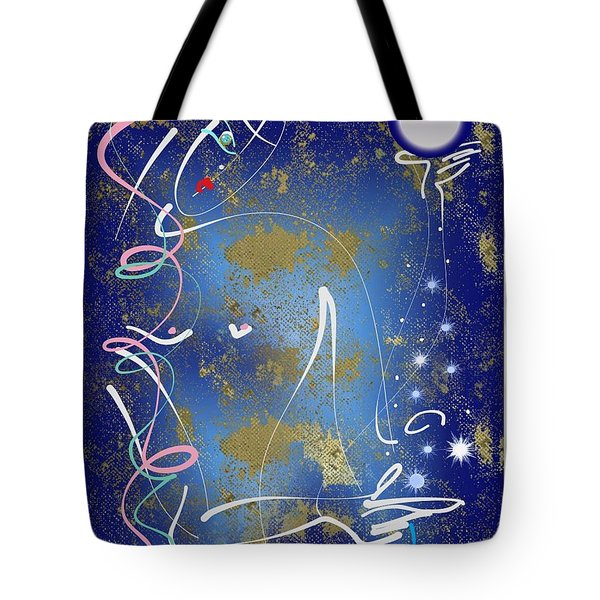 Tote Bag featuring the mixed media Goddess Of The Night Sky by Larry Talley