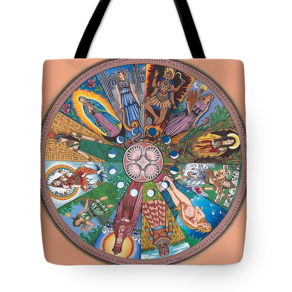 Goddess Wheel Guadalupe Tote Bag by James Roderick