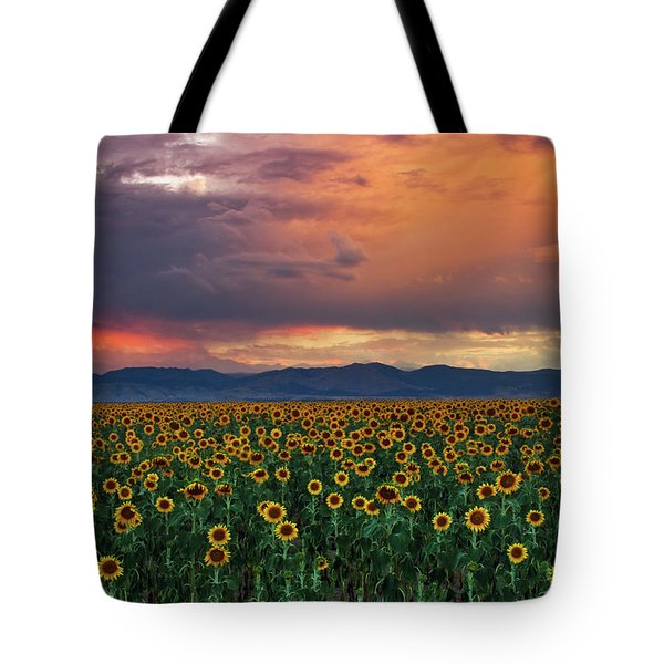 Tote Bag featuring the photograph God's Sunflower Sky by John De Bord