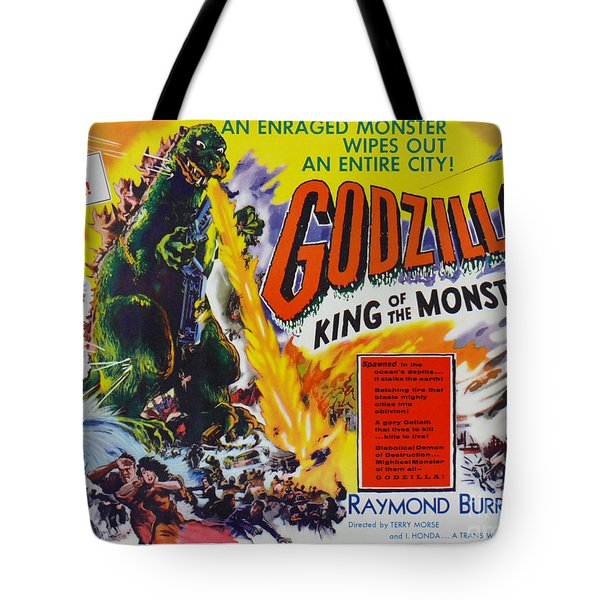 Godzilla King Of The Monsters An Enraged Monster Wipes Out An Entire City Vintage Movie Poster Tote Bag