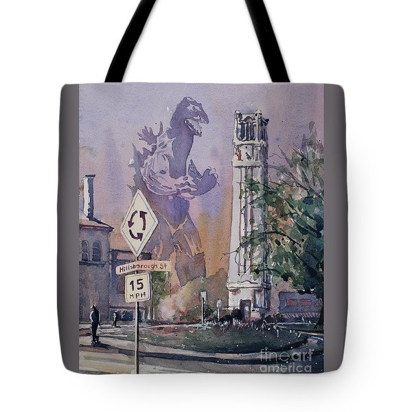 Tote Bag featuring the painting Godzilla Smash Ncsu- Raleigh by Ryan Fox