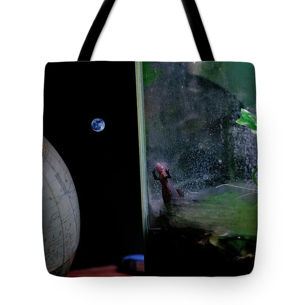 Godzilla Watches And The Moon Is Blue Tote Bag