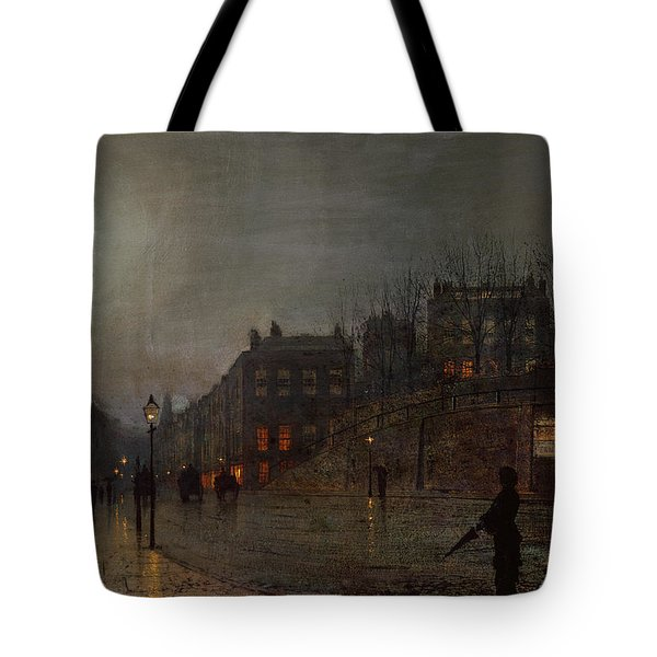 Going Home At Dusk Tote Bag by John Atkinson Grimshaw