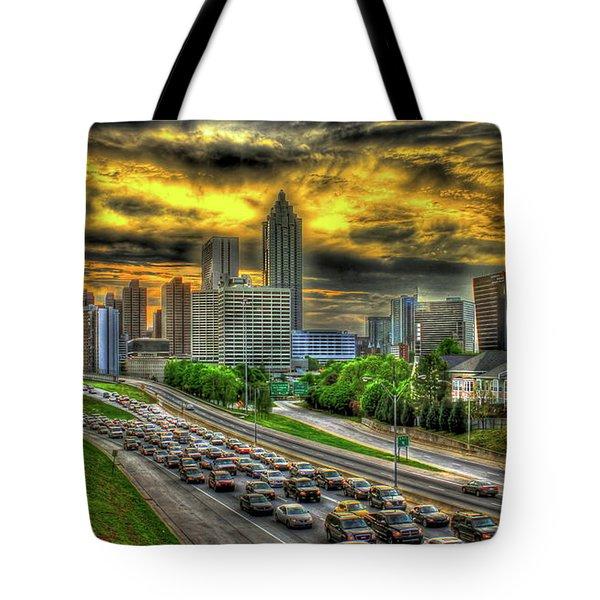 Going Nowhere Fast Atlanta Downtown Sunset Art Tote Bag