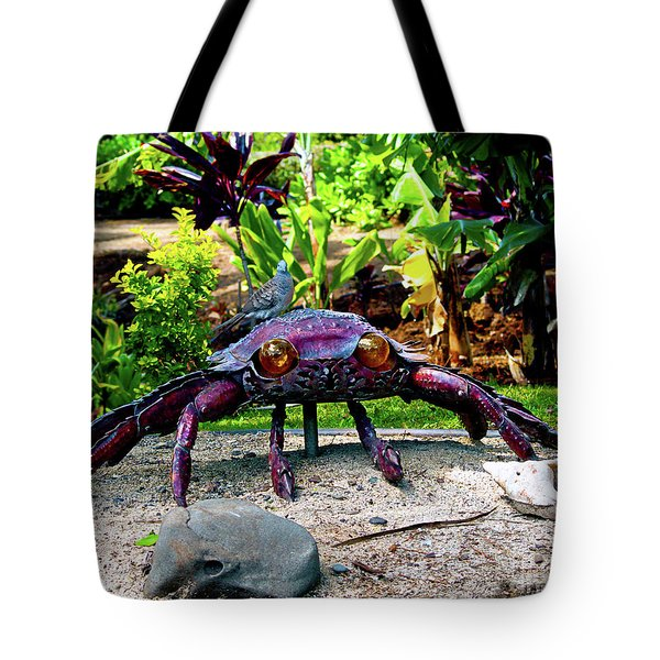 Going Piggyback On A Crab Tote Bag