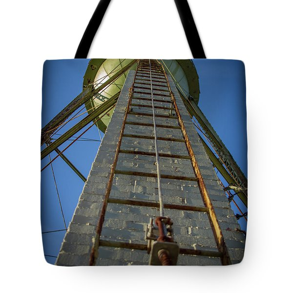 Tote Bag featuring the photograph Going Up Mary Leila Cotton Mill Water Tower Art by Reid Callaway