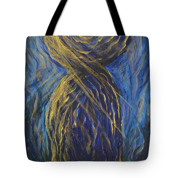 Gold And Blue Latte Stone Tote Bag