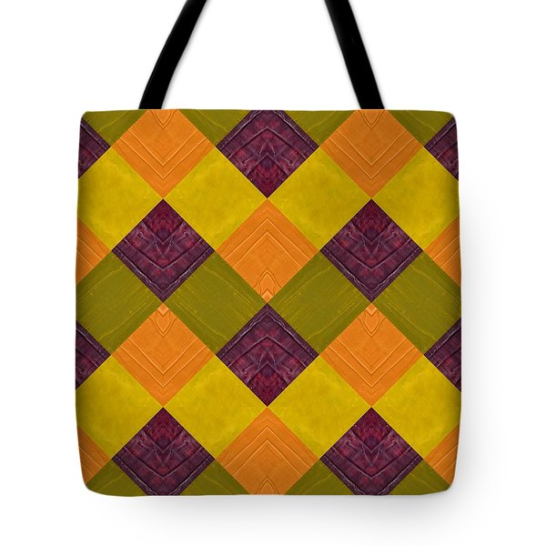 Gold And Green With Orange 2.0 Tote Bag by Michelle Calkins