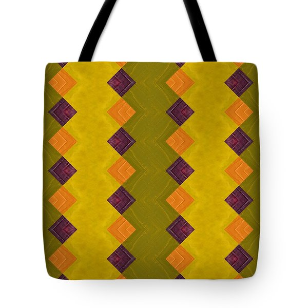 Tote Bag featuring the painting Gold And Green With Orange  by Michelle Calkins