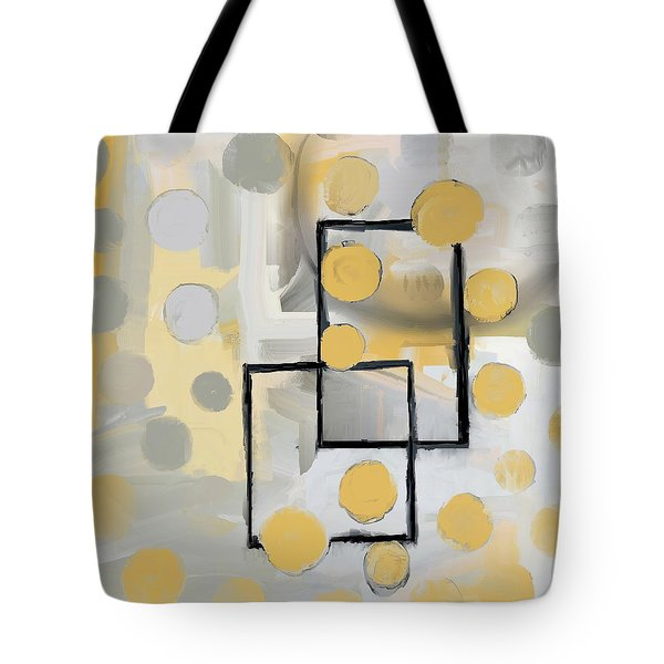 Tote Bag featuring the mixed media Gold And Grey Abstract by Eduardo Tavares