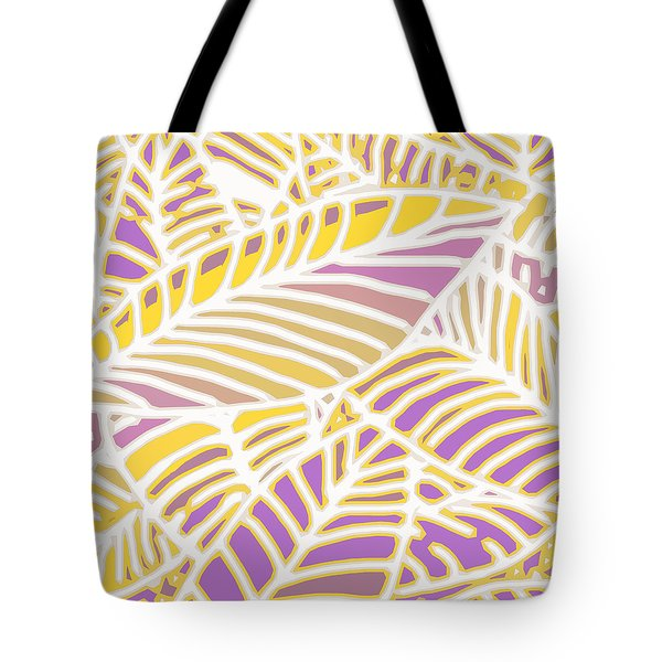 Gold And Orchid Leaves Cutout Tote Bag