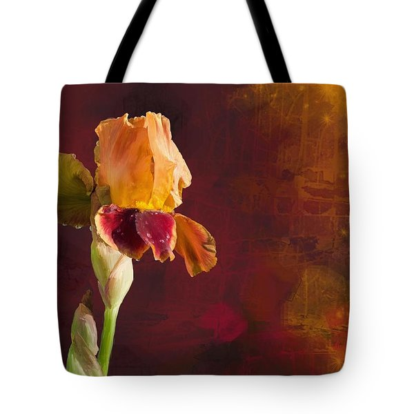 Gold And Red Iris Tote Bag