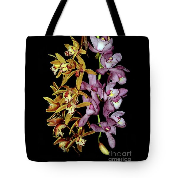 Tote Bag featuring the photograph Gold And Red Orchid Display By Kaye Menner by Kaye Menner