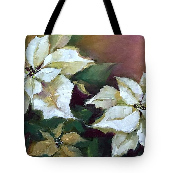 Gold And Silver Silent Night Poinsettias Tote Bag