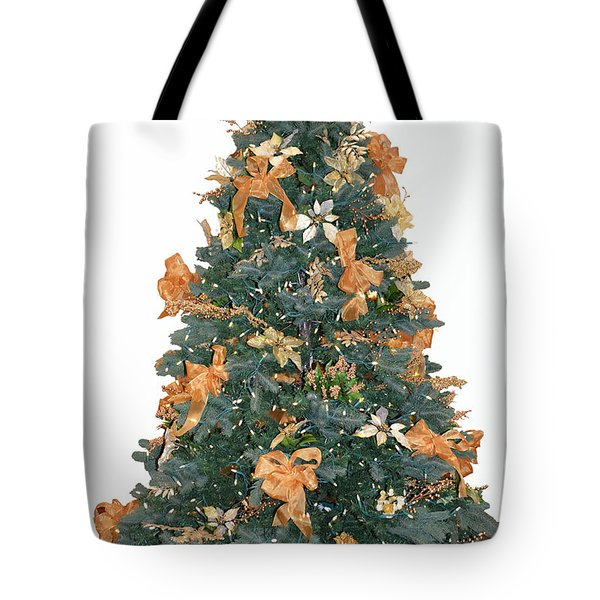 Gold Bow Xmas Card Tote Bag