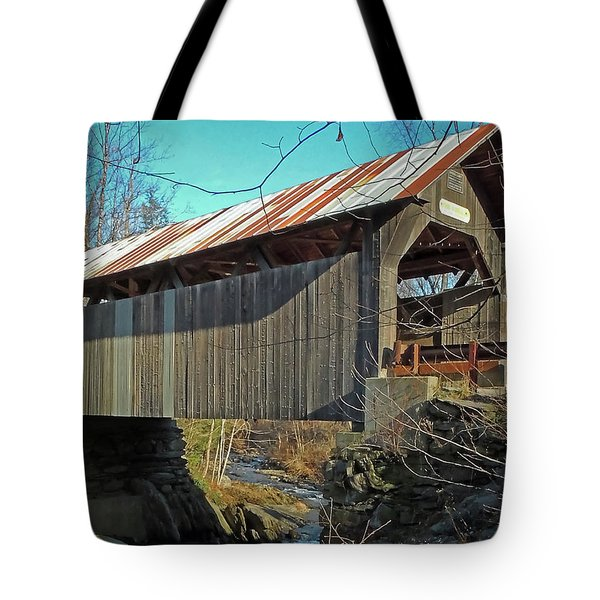 Gold Brook Bridge Tote Bag