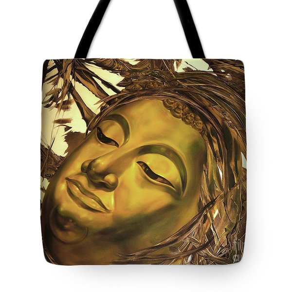 Tote Bag featuring the painting Gold Buddha Head by Chonkhet Phanwichien