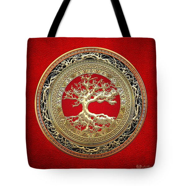 Gold Celtic Tree Of Life On Red Tote Bag by Serge Averbukh
