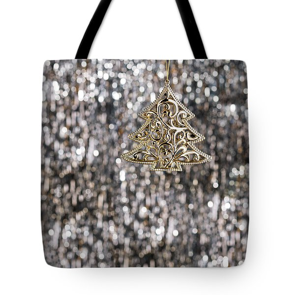 Tote Bag featuring the photograph Gold Christmas Tree by Ulrich Schade