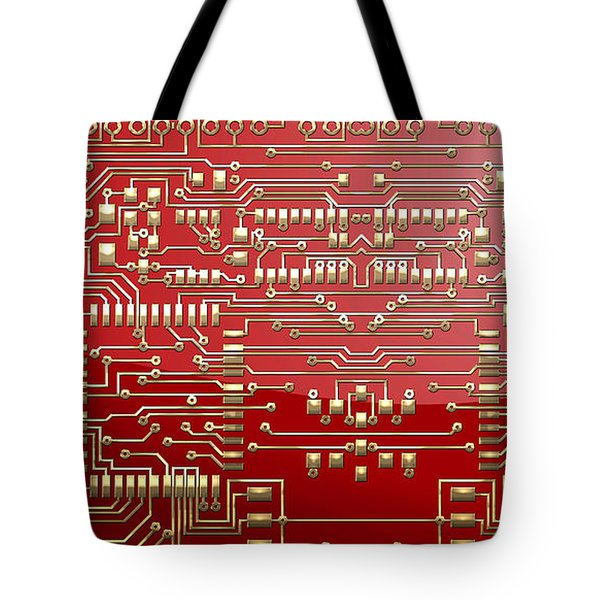 Gold Circuitry On Red Tote Bag