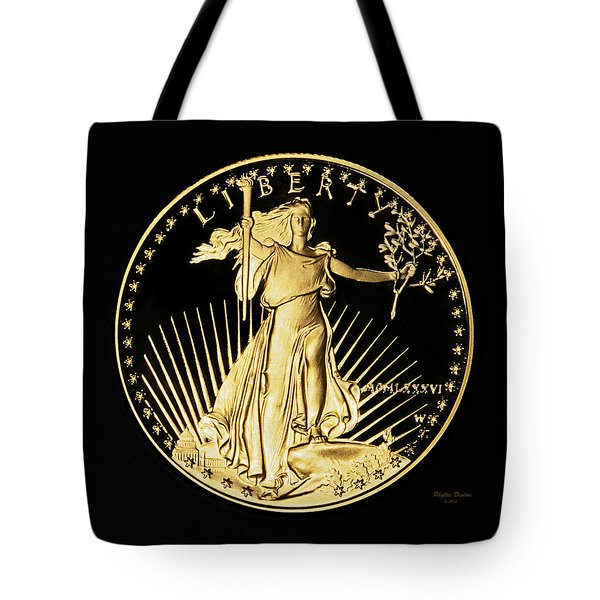 Gold Coin Front Tote Bag by Phyllis Denton