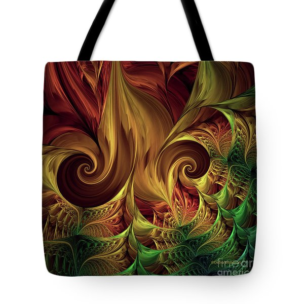 Tote Bag featuring the digital art Gold Curl by Deborah Benoit