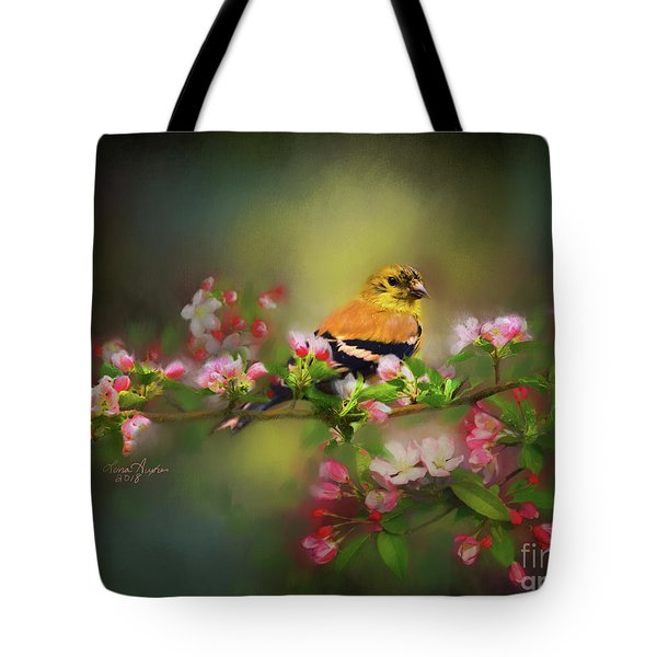 Gold Finch And Blossoms Tote Bag