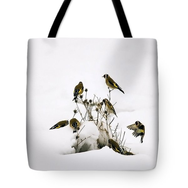 Gold Finches In Snow Tote Bag