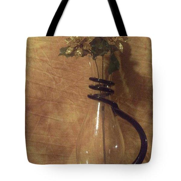Gold Flower Vase Tote Bag