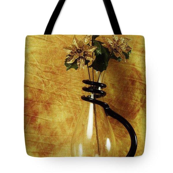 Gold Flowers In Vase Tote Bag