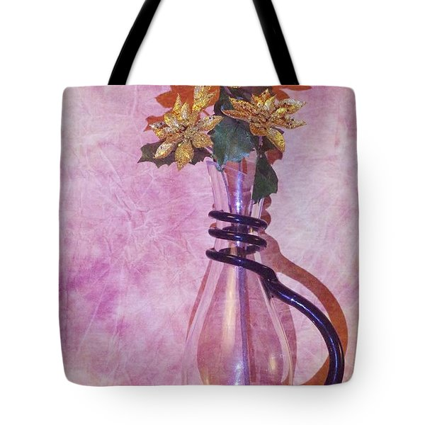 Gold Flowers Pink Background Tote Bag