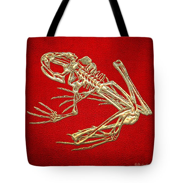 Gold Frog Skeleton On Red Leather Tote Bag