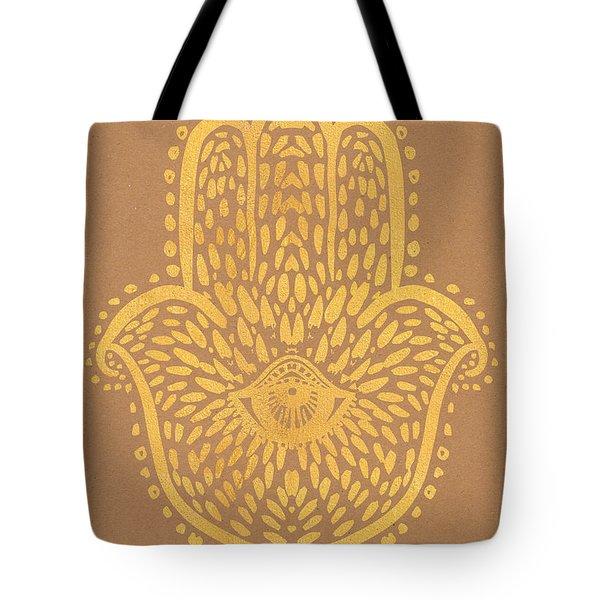 Gold Hamsa Hand On Brown Paper Tote Bag