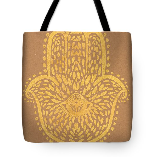 Gold Hamsa Hand On Brown Paper Tote Bag