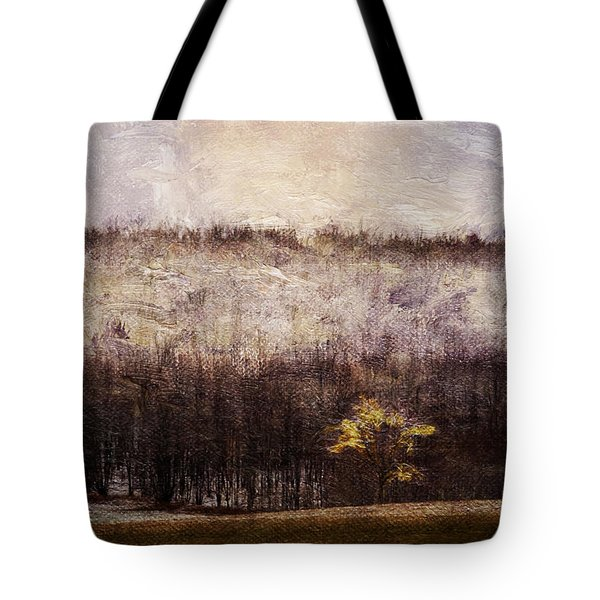 Gold Leafed Tree In Snow Tote Bag