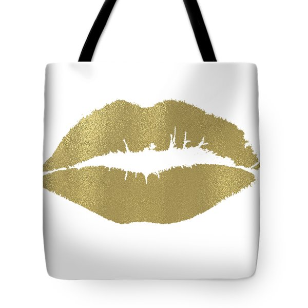 Gold Lips Kiss Tote Bag