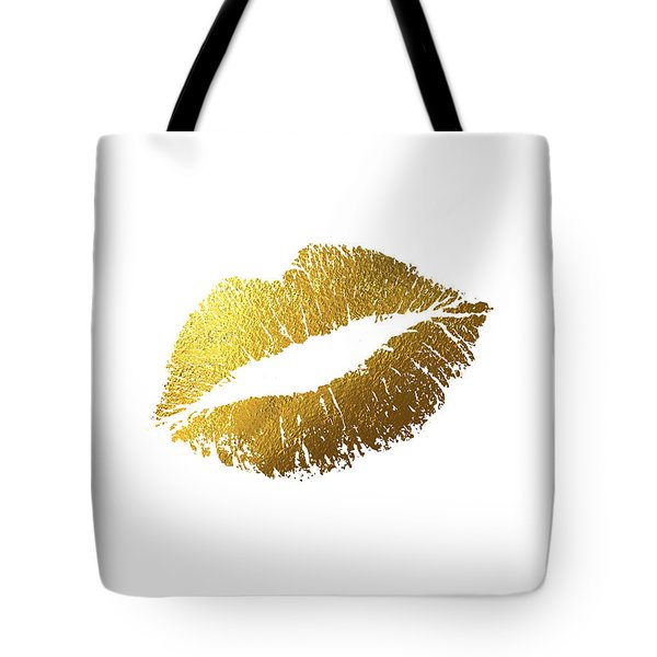 Gold Lips Vertical Tote Bag