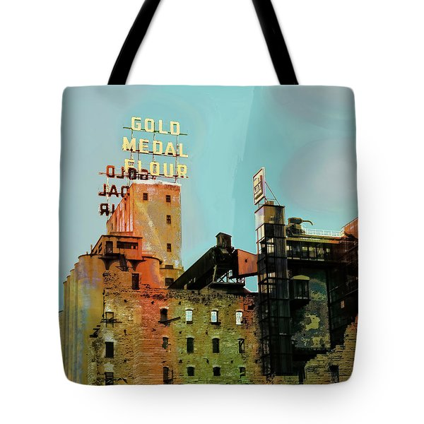 Tote Bag featuring the photograph Gold Medal Flour Pop Art by Susan Stone