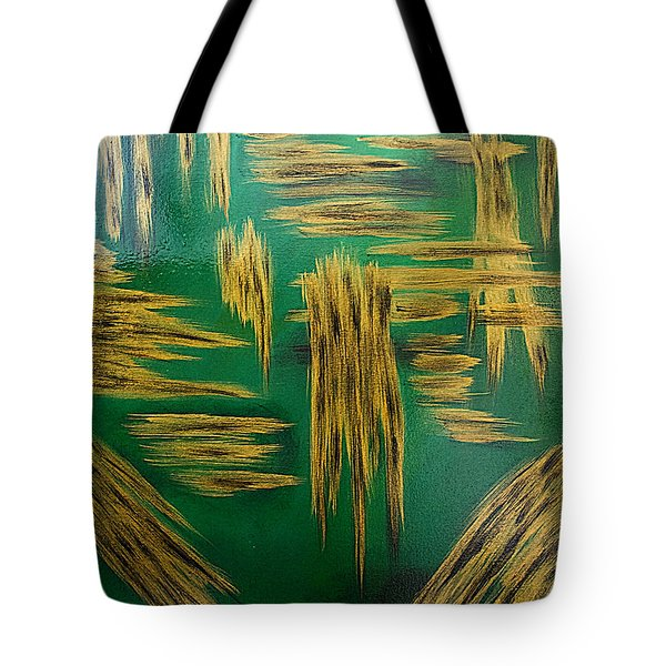 Gold Metallic Abstract Tote Bag by Renee Anderson