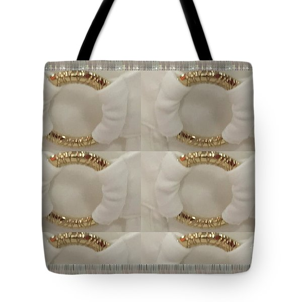 Tote Bag featuring the photograph Gold N White Clothing Fabric Texture N Pattern Tshirts Pillows Towels Christmas Holidays Festivals  by Navin Joshi
