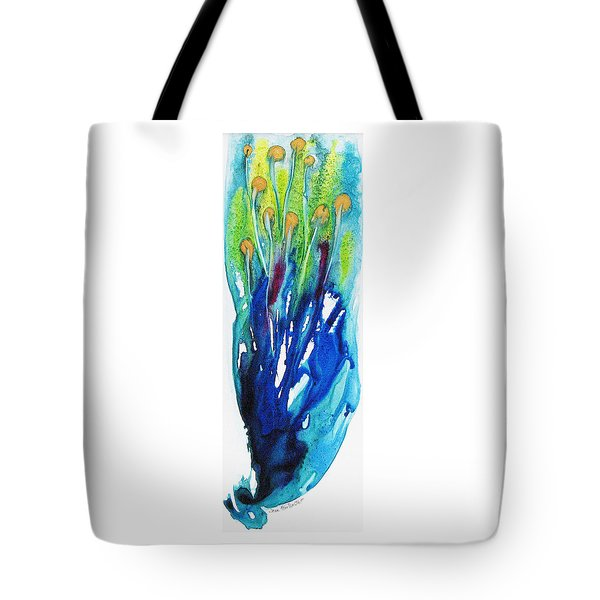 Tote Bag featuring the painting Gold Nuggets And Blue by Joan Hartenstein