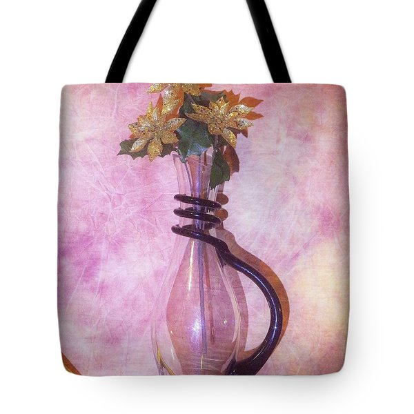 Gold On Pink Flowers Tote Bag