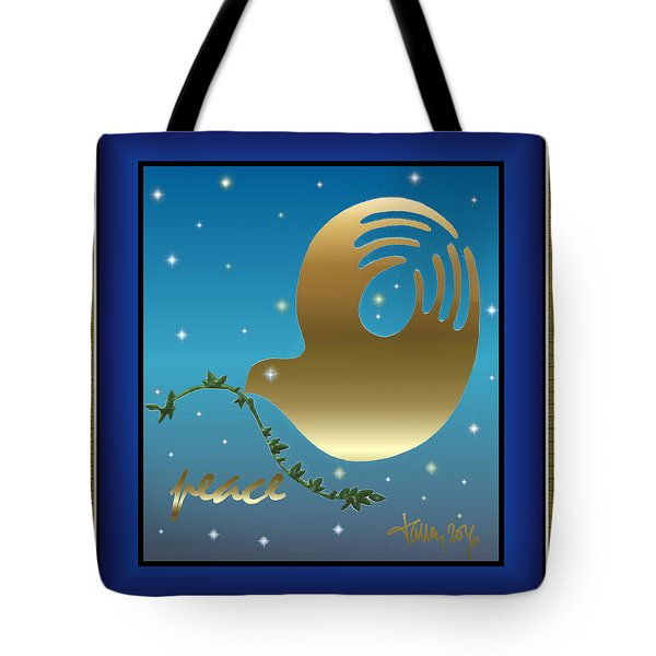Gold Peace Dove Tote Bag